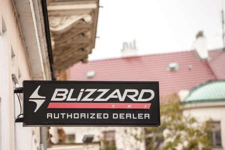 PRAGUE, CZECHIA - NOVEMBER 2, 2019: Blizzard Ski logo in front of their store for Prague.
