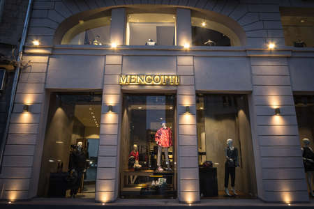BUCHAREST, ROMANIA - FEBRUARY 11, 2020: Mengotti logo on their store selling Italian fashion in bucharest.