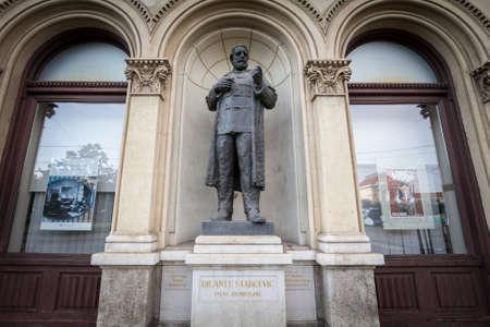 ZAGREB, CROATIA - JUNE 19, 2021: Ante Starcevic statue, also called spomenik Anti Starcevicu, in Zagreb city center. Ante Starcevic was a croatian writer and politician of the state of Croatia.