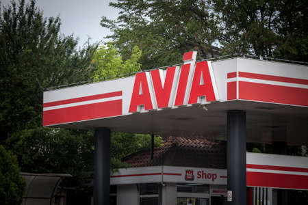 BELGRADE, SERBIA - JUNE 6, 2021 Logo of Avia International on one of its gas stations of Belgrade. Avia is a Swiss union of independent petroleum gas importers and gas stations in Europe.