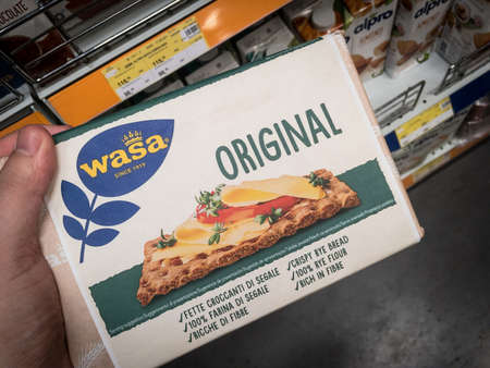 BELGRADE, SERBIA - AUGUST 6, 2021: Wasa logo on packs of crispbread crackers for sale in Belgrade. Part of Wasabrod, wasa is a swedish brand of dry crackers and baked products from sweden.