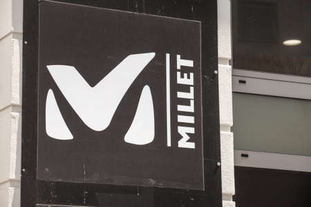 ZAGREB, CROATIA - JUNE 18, 2021: Millet logo on their local retailer in Zagreb. Part of Calida, Millet is a French manufacturer of outdoor fashion, sportswear and sports gear. Editorial