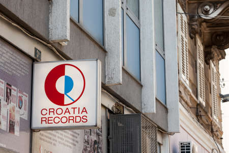 RIJEKA, CROATIA - JUNE 18, 2021: Croatia Records logo in front of their local shop in Rijeka. Croatia Records is the largest croatian record label and a music producer, formerly Jugoton. Editorial