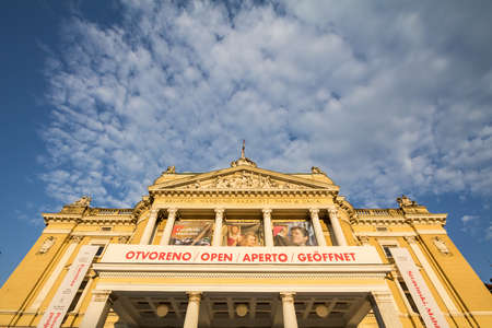 RIJEKA, CROATIA - JUNE 17, 2021: Main facade of the Croatian national theater, or hrvatsko narodno kazaliste rijeka, a major baroque landmark of the city and a drama and ballet house. Editorial