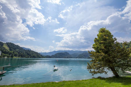 Panorama of the Bled lake, Blejsko Jezero, with its blue waters during a sunny summer. Lake bled is a major water point in the julian alps and one of the main touristic destinations of Slovenia. Imagens