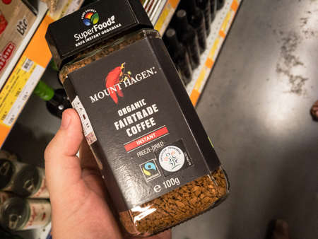 BELGRADE, SERBIA - AUGUST 14, 2021: Mount Hagen coffee logo on a jar of freeze dried instant coffee for sale in Belgrade. Mont Hagen is a fair trade brand of caffeine organic products. Editorial