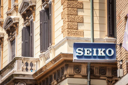 RIJEKA, CROATIA - JUNE 18, 2021: Old Seiko logo on a sign in front of their retailer for Rijeka. Seiko is a Japanese high end watchmaker manufacturing watches, clocks and electronic devices. Editorial