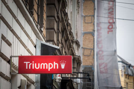 ZAGREB, CROATIA - JUNE 18, 2021: Triumph international logo in front of their retailer for Zagreb, Triumph is a swiss german sleepwearand underwear manufacturer specialized in premium lingerie.