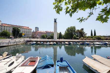RIJEKA, CROATIA - JUNE 18, 2021: Spomenik Oslobodjena, or monument of liberation, in delta del rjecina. It's a communist yugoslav monument from Vinko Matkovic in memory of soldiers died in WWII, built in 1955.