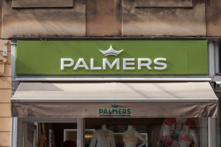 LJUBLJANA, SLOVENIA - JUNE 19, 2021: Palmers logo in front of their store for Ljubljana. Palmers is an Austrian Fashion designer and retailer specialized in Premium Womenswear and underwear.