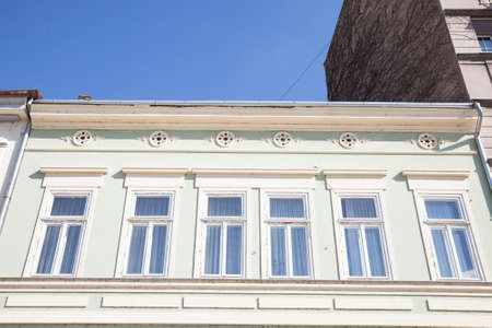 Typical Austro-Hungarian Facade of an appartment residential building in a street of old town, stari grad ,, the historical center of Belgrade, Serbia, in the most touristic part of the city. Editorial