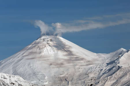 active volcano: Beautiful volcanic landscape: Avachinsky Volcano active volcano of Kamchatka. Russia Far East. Stock Photo