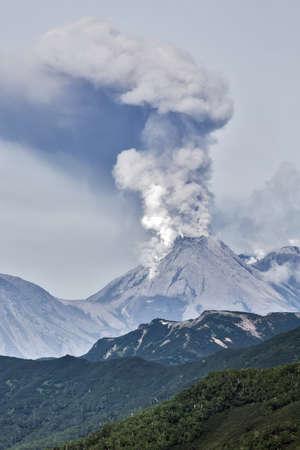 Beautiful mountain volcanic landscape of Kamchatka: eruption active Zhupanovsky Volcano on Kamchatka Peninsula Russia Far East.