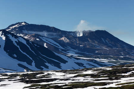 active volcano: Beautiful volcanic landscape: Mutnovsky Volcano active volcano of Kamchatka Peninsula in sunny weather. Russia Far East.