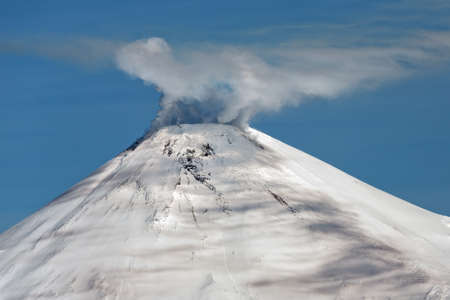 effusion: Beautiful volcanic landscape: Avacha Volcano active volcano of Kamchatka. Russia Far East.