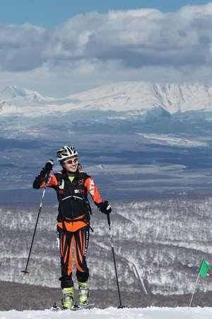 kamchatka: MOUNTAIN MOROZNAYA, ELIZOVO, KAMCHATKA, RUSSIA - APRIL 25, 2014: Vertical race. Ski mountaineering Asian Championships, Ski mountaineering Russian Championship, International competitions ISMF series Kamchatka Race, Ski mountaineering Kamchatka Championsh