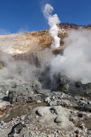 fumarole: Volcanic landscape of Kamchatka: brimstone and fumarole field in crater of active Mutnovsky Volcano. Russia, Far East, Kamchatka Peninsula.