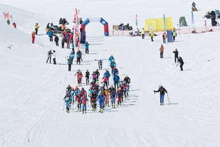 kamchatka: AVACHA VOLCANO, KAMCHATKA, RUSSIA - APRIL 26, 2014: Individual race. Ski mountaineering Asian Championships, Ski mountaineering Russian Championship, International competitions ISMF series Kamchatka Race, Ski mountaineering Kamchatka Championship.