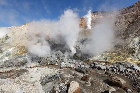 fumarole: Volcanic landscape of Kamchatka: brimstone and fumarole field in crater of active Mutnovsky Volcano. Russia Far East Kamchatka Peninsula.