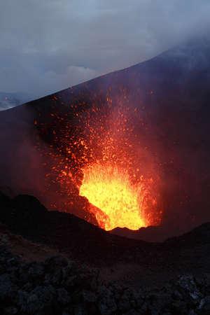 eruptive: Beautiful mountain landscape: eruption Tolbachik Volcano ejection fountain lava from crater. Russia Far East Kamchatka Peninsula.