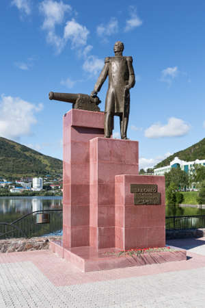 far east: PETROPAVLOVSK-KAMCHATSKY, KAMCHATKA, RUSSIA - SEP 07, 2015: View of the monument to the first Military Governor of Kamchatka V. S. Zavoiko in the city of Petropavlovsk-Kamchatsky in Russian Far East.