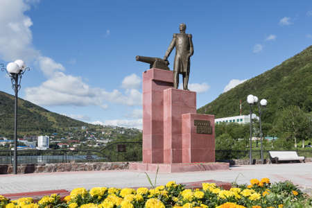 townscape: PETROPAVLOVSK-KAMCHATSKY, KAMCHATKA, RUSSIA - SEP 07, 2015: View of the monument to the first Military Governor of Kamchatka V. S. Zavoiko in city of Petropavlovsk-Kamchatsky in the Russian Far East.