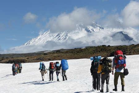 lejano oriente: Senderismo en el Kamchatka: un grupo de turistas est� en el campo de nieve en un fondo hermoso del grupo Kluchevskaya de los volcanes en un d�a soleado. Federaci�n de Rusia, el Lejano Oriente, la pen�nsula de Kamchatka. Foto de archivo