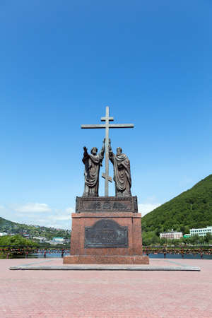 townscape: PETROPAVLOVSK-KAMCHATSKY, KAMCHATKA, RUSSIA - JULY 18, 2012: Summer view of the Monument to the Holy Apostles Peter and Paul in the city of Petropavlovsk-Kamchatsky on a sunny day on the background blue sky. Editorial