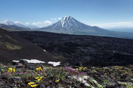 lejano oriente: Kamchatka beautiful volcanic landscape - summer view of Bolshaya Udina Volcano. Eurasia, Russian Federation, Far East, Kamchatka Peninsula, Klyuchevskaya Group of Volcanoes.