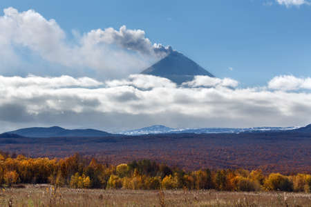 Beautiful view of explosive-effusive eruption of Klyuchevskaya Sopka (Klyuchevskoy Volcano): powerful plume of gas, steam, ash from crater volcano. Picturesque view of volcanic eruption on sunny day.