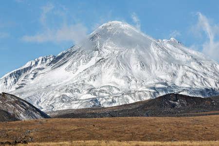 Volcanic landscape on Kamchatka Peninsula: view on active Bezymianny Volcano(Bezymiannaya Sopka). Eurasia, Russian Far East, Kamchatka Region, Klyuchevskaya Group of Volcanoes. Stock Photo