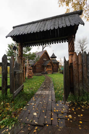 ESSO VILLAGE, KAMCHATKA PENINSULA, RUSSIAN FAR EAST - SEPTEMBER 18, 2013: Wooden gate - entrance to Bystrinsky Ethnographic Museum in Bystrinsky Region on Kamchatka Region. Editorial