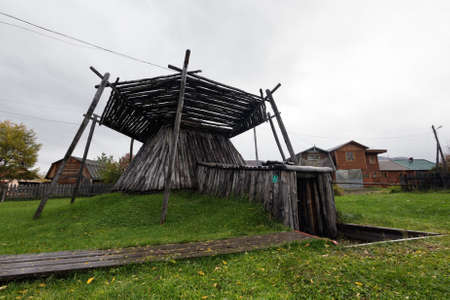 ESSO VILLAGE, KAMCHATKA PENINSULA, RUSSIAN FAR EAST - SEPTEMBER 18, 2013: Koryak semi-underground dwelling of the XIX century. Bystrinsky Ethnographic Museum in Bystrinsky Region on Kamchatka Region.