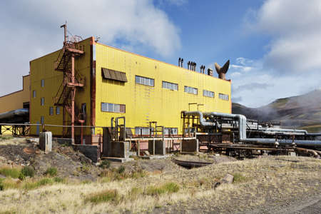 KAMCHATKA, RUSSIA - SEP 17, 2016: Separator and pumping station of Mutnovskaya Geothermal Power Station (Mutnovskaya GeoPP-1) Geotherm JSC (RusHydro) using geothermal energy to produce electricity.