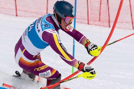 MOROZNAYA MOUNTAIN, KAMCHATKA PENINSULA, RUSSIA - MARCH 28, 2019: Mountain skier Konkov Alexey (Kamchatka Territory). Russian Alpine Skiing Cup, International Ski Federation Championship, slalom.