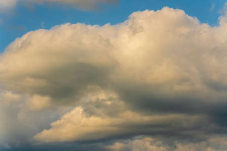 Beautiful summer cloudscape - stunning clouds floating across sky to change weather. Natural meteorology abstract background. Atmospheric and optical dispersion, soft focus, motion blur clouds.