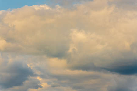 Stunning summer cloud scape - beautiful clouds floating across sky to change weather. Natural meteorology abstract background. Optical and atmospheric dispersion, soft focus, motion blur clouds.