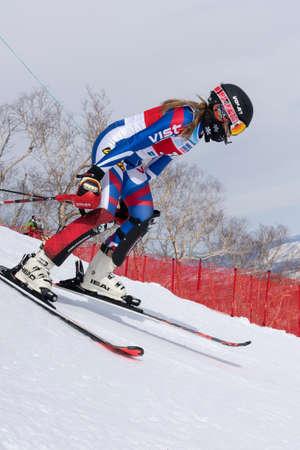 Mountain skier Ulyana Lendya Kamchatka Region. Russian Alpine Skiing Championship, International Ski Federation Championship, slalom. Moroznaya Mount, Kamchatka Peninsula, Russia - March 28, 2019