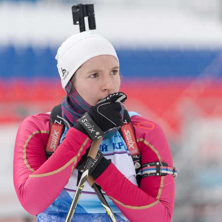 Portrait sportswoman biathlete Andreeva Victoriya Kamchatka Territory after skiing and rifle shooting. Open regional junior biathlon competitions East Cup. Kamchatka Peninsula, Russia - Apr 12, 2019