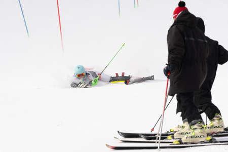 Russian Alpine Skiing Cup, International Ski Federation Championship, slalom. Mount skier Elizaveta Elesina Sverdlovsk skiing down mountain. Moroznaya Mount, Kamchatka Peninsula, Russia - Mar 29, 2019