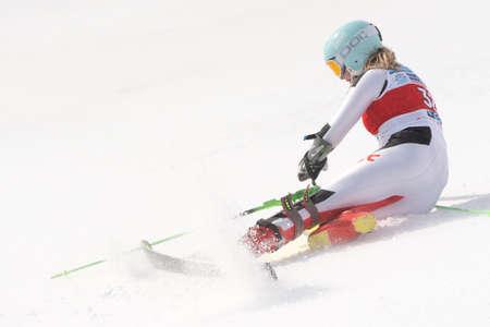 Mountain skier Elesina Elizaveta Sverdlovsk skiing down mount slalom. International Ski Federation Championship and Russian Alpine Skiing Cup. Kamchatka Peninsula, Russian Far East - March 29, 2019. 에디토리얼