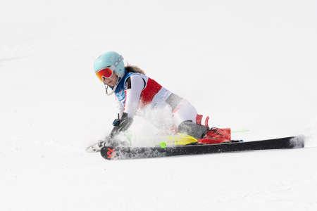 Mountain skier Elesina Elizaveta Sverdlovsk skiing down mount slalom. Russian Alpine Skiing Cup, International Ski Federation Championship. Moroznaya Mount, Kamchatka Peninsula, Russia - Mar 29, 2019. 에디토리얼