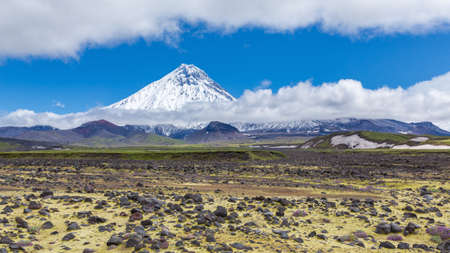 Mountain landscape of Kamchatka Peninsula, view of snowcapped cone of Kamen Volcano, yellow moss in bed of dry river at foot of volcanic massif. Travel destinations on sunny day with clouds, blue sky.