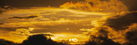 Panoramic view of dramatic clouds illuminated rising of sun floating in sky to change weather. Soft focus, motion blur sky majestic meteorology cloudscape.