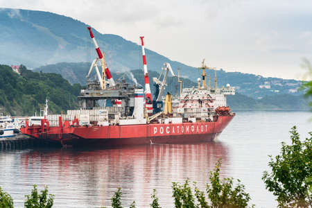 Russian cargo container ship nuclear-powered icebreaker Sevmorput Corporation FSUE Rosatomflot or Atomflot . Container terminal commercial sea port. Pacific Ocean, Kamchatka, Russia - August 27, 2019.