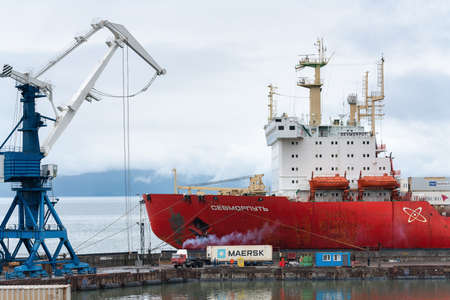 Sevmorput - nuclear container ship Russian Corporation FSUE Atomflot. Container terminal commercial sea port. Northern Sea Route in Pacific Ocean, Kamchatka Peninsula, Russian Far East - Aug 26, 2019
