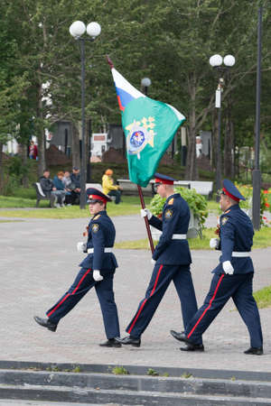 Cadets in uniform of Cadet Class Investigative Committee of Russia during solemn event dedicated to 75th anniversary of completion Invasion of Kuril Islands. Kamchatka Peninsula, Russia - Sep 2, 2020
