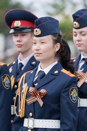 Cadets in uniform of Cadet Class of Investigative Committee of Russia during solemn event dedicated to 75th anniversary of completion Kuril Islands Landing Operation. Kamchatka, Russia - Sep 2, 2020.