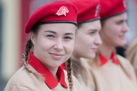 Cadets in uniform of All-Russia Young Army National Military Patriotic Social Movement Association during event dedicated of completion Invasion of Kuril Islands. Kamchatka, Russia - Sep 2, 2020