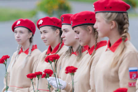 Cadets in uniform of All-Russia Young Army National Military Patriotic Social Movement Association during event dedicated of completion Kuril Islands Landing Operation. Kamchatka, Russia - Sep 2, 2020
